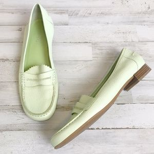 Franco Sarto   Mint Green Leather Loafers 9
